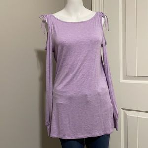 WHBM Purple Cold Shoulder Long Sleeve Bow